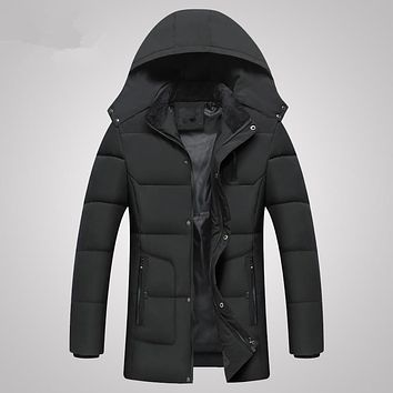 Mens Long Winter Down Jacket Parkas Male Coat 2017 Casual Brand Cotton Padded Hooded Overcoat Quilted Warm Down Long Jackets 4XL