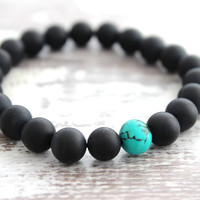 Black Onyx Bracelet w/ Turquoise, Mens Black Beaded Bracelet Turquoise Onyx Jewelry Meditation Yoga Bracelet Yoga Gift for Man Gift for Him