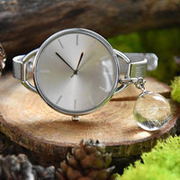 Silver Wrist Watches with resin pendant, dandelion seeds was sunk forever, watch, bracelet, gift ideas