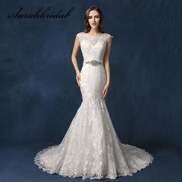 Designer Lace Wedding Dresses O Neck Backless Beaded Belt