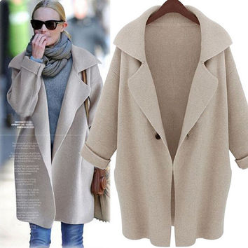Womens Classic Cardigan Loose Coat Autumn Winter Warm Ladies Long Sleeved Wool Sweater Outwear +Free Christmas Gift -Random Necklace