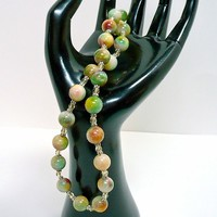 Pastel Green, Yellow, Pink Candy Jade with Pale Topaz Crystal Necklace