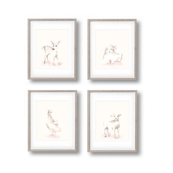 Baby Animal Nursery Art, Set of 4 Prints, Deer, Lamb, Duck, Bunny, Farmyard Animal Wall Art, Childrens Wall Decor, Kids Art Print