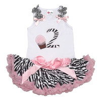 Birthday Tutu -Girls Second Birthday Outfit-  2nd Birthday Zebra Tutu Set- Birthday Party Dress- Girls Tutu Set-Trendy Baby Clothes