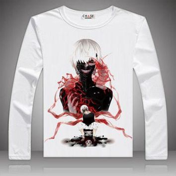 Anime T-Shirt cosplay 81 Styles Anime Unisex Tokyo Ghoul Print T-shirts Kaneki Ken Long Sleeve T Shirt Kirishima Touka Tops Autumn Tees Clothes AT_57_4