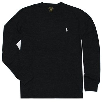 RALPH LAUREN Polo Men Long Sleeve Pony Logo T-Shirt Black Charcoal Large