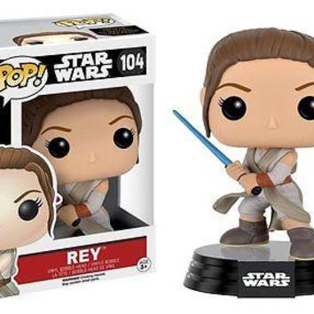 Funko Pop Star Wars: Episode 7 - Rey with Lightsaber Vinyl Figure