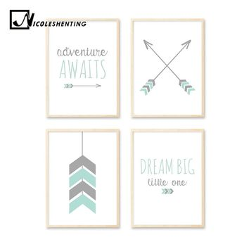 Arrow Cartoon Wall Art Canvas Poster Nursery Quote Prints Nordic Style Painting Wall Picture Kids Children Bedroom Decoration