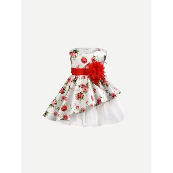 Kids Floral Print Bow Tie Asymmetrical Dress