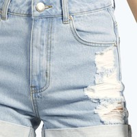 Hetty High Waisted Distressed Mom Shorts