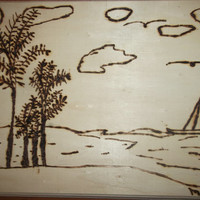 BOGO Sale Wood Burned Art Ocean Lake Beach Scene with Palm Trees Clouds Water Sailboat and Birds Free Shipping