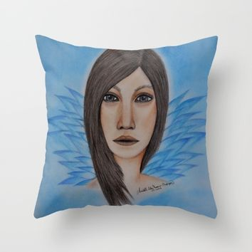 Strong Woman---colored pencil portrait drawing by Saribelle Throw Pillow by Saribelle Inspirational Art | Society6