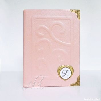 Pink Photo Album Leather 4x6, Personalized Album Gift for Women, Girl, Daughter Sister Birthday, Memories, Graduation, Scrapbook Leather Art