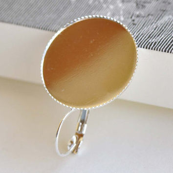 Silver French Earwire Earring Base Setting Match 25mm Cabochon Sawtooth Edge Set of 10 A8356