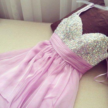 Lavender Sweetheart Crystals Homecoming Dress
