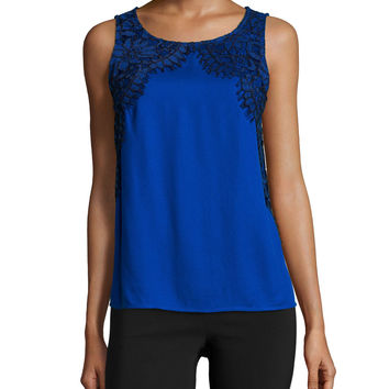 Sleeveless Lace-Applique Top, Sapphire, Size: