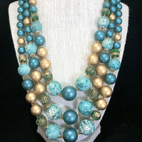 Green Art Glass Bead Necklace Teal Blue Gold Lucite Multi Strand Mid Century Vintage Beaded Jewelry, Costume Jewellery 518