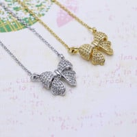Ribbon necklace in  silver or gold tone