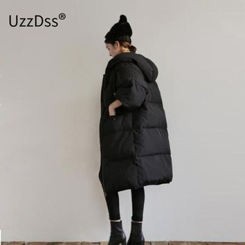 2017 Fashion Women Winter Warm Thicken Over-knee Length Coat Cheap Chinese Quilted Jacket Hooded Palto Korean Solid Black Cloak