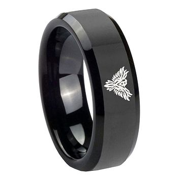 8MM Phoenix Shiny Black Bevel Edges Tungsten Carbide Laser Engraved Ring