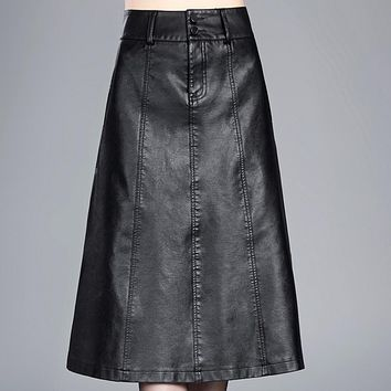 Women High Waist PU Leather Swing Maxi Skirt