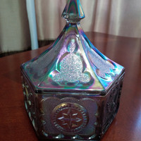 Vintage Indiana Glass for Tiara Colonial Covered or Lidded Candy Dish