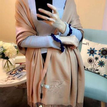 CREYUX5 Luxury Burberry Keep Warm Scarf Embroidery Scarves Winter Wool Shawl Feel Silky And Delicate - Apricot