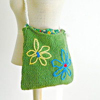 Vintage Boho Shoulder Bag. Hippie Flower Power Shoulder Bag. Vintage Green Handknit Shoulder Bag.