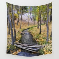 White river. Autumn forest Wall Tapestry by Guido Montañés
