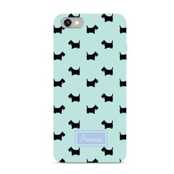 Preppy Gift Collection - Monogrammed Personalized Cell Phone - Dog Breed Scottish Terrier Name Monogram Style - iPhone Case