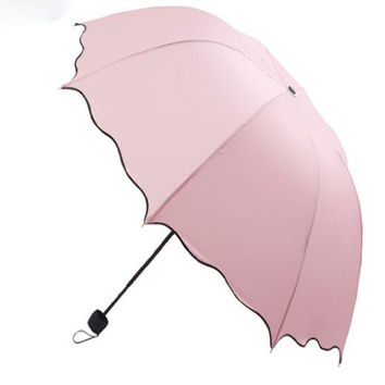 Dome Parasol Sun-rain Umbrella,triple Folding Ruffled Anti-uv Parasol (pink)