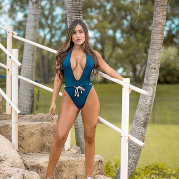 Navy Blue Nude Rope Drawstring Swimsuit
