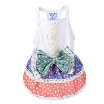 DCCKH6B New Small Dog Dress Summer Pastoralism Princess Skirt Dresses Poodle Yorkshire Clothing Dogs Costumes Dog Dress Dots BS