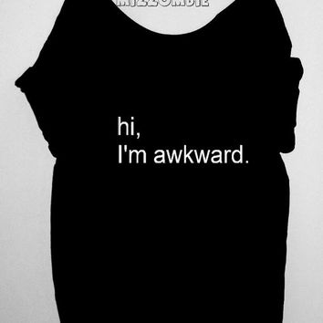 AWKWARD  Tshirt, Off The Shoulder, Over sized,   loose fitting, graphic tee, screen printed by hand, women's, teens.