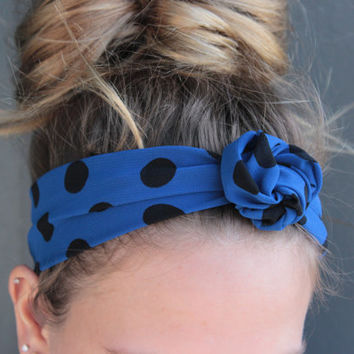 Bright Blue Polka Dot Print Twist Head Scarf Dolly Bow Wire Headband Bun Wrap
