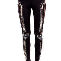 Studded Leggings with Fishnet Trim - medium