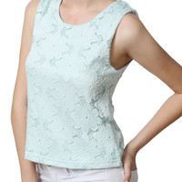 LE3NO Womens Sleeveless Floral Lace Crochet Top (CLEARANCE)