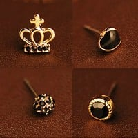 Cute Rhinestone Crown Earrings-4 pcs/pack