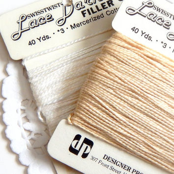 Vintage Cotton Yarn. Vintage Trim. White Yarn. Brown Yarn. Sewing Supply. Sewing Notions. Vintage Sewing. Bakers Twine. Cotton String. Tags.
