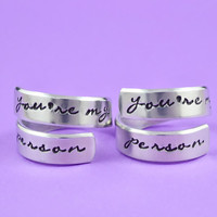 you're my person - Hand Stamped Aluminum Spiral Rings Set, Grey's Anatomy Inspired, Love And Friendship Ring, Script Font Version
