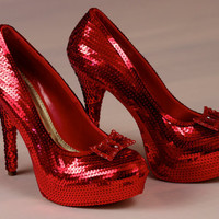 Ruby Red Slipper Sequin Stiletto Heels