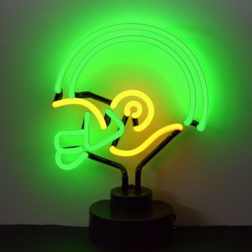Green And Yellow Football Helmet Neon Sculpture