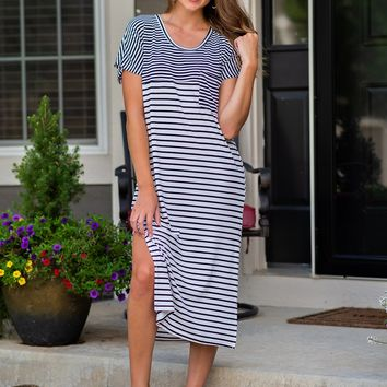 Sing A Song Stripe Slit Basic Dress : Black/White