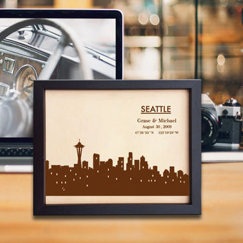 kLik245 Leather Engraved Wedding Third Anniversary seattle city Longitude Latitude personalized gift place house wedding