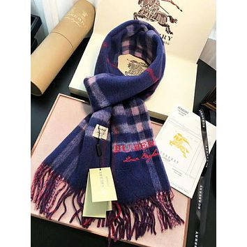Burberry Autumn And Winter New Fashion Plaid Tassel Warm Scarf Women Blue