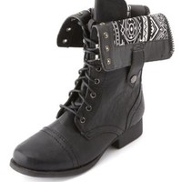 Distressed Zip-Back Combat Boot by Charlotte Russe - Black