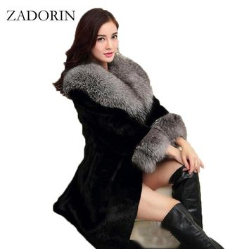 2018 Luxury FAUX Mink Fur Coat With Fur Collar Women Winter Coat Winterjas Dames Fur Gilet Jackets chalecos de pelo mujer S-4XL
