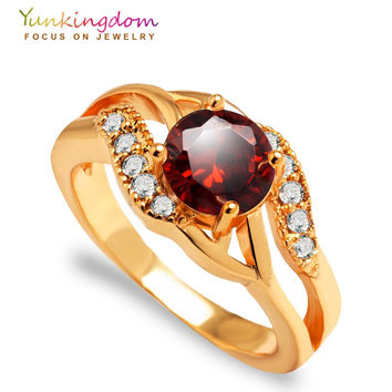 Yunkingdom elegant Rings for women pink Cubic zirconia jewelry Gold Plat