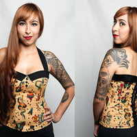 Psychobilly/ Rockabilly/ Pin up/ Alexander Henry Retro Tattoo Print Sailor Collar Corset Top. Size: 1X
