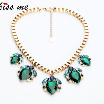 xl00581 New Styles KISS ME Fashion Jewelry  Shiny Green Water Drop Necklace Christmas Gifts